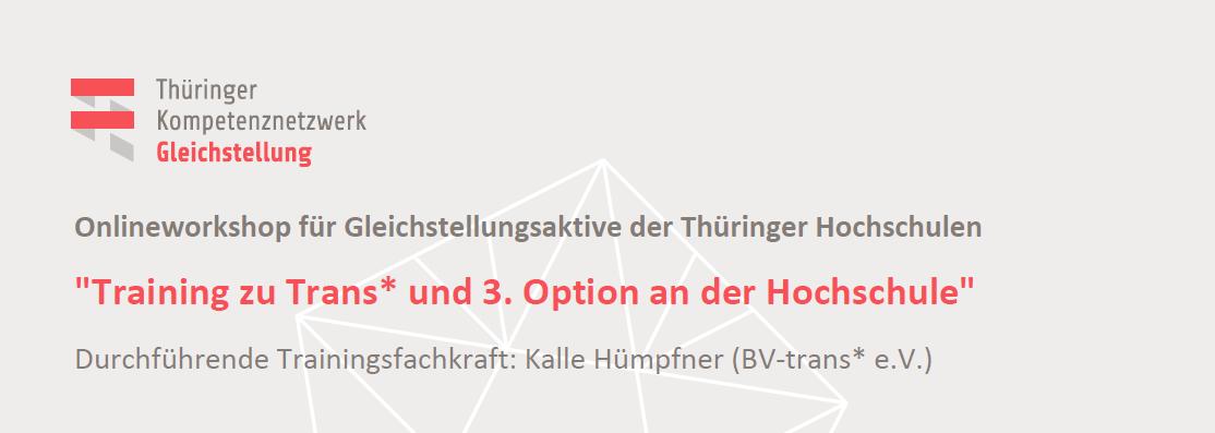 """Workshop """"Dritte Option und Trans* an den Hochschulen"""""""