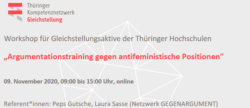 "Onlineworkshop ""Argumentationstraining gegen antifeministische Positionen"""